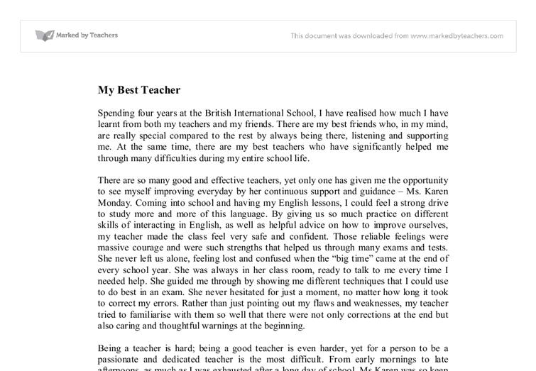 Essay my best teacher