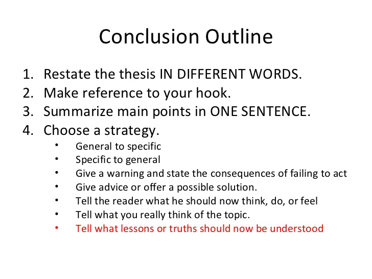 How to write a conclussion for an arguement essay