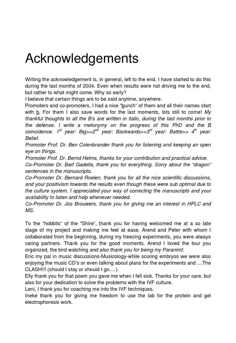Good acknowledgement dissertation