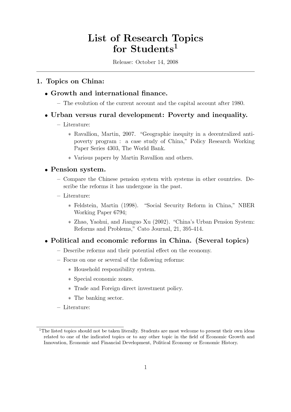 good topics for economic research papers