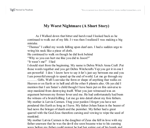 describe a nightmare essay Junior english essays: next toefl for a minute or so i lay on my bed not daring to close my eyes for fear of falling asleep again and continuing the nightmare.