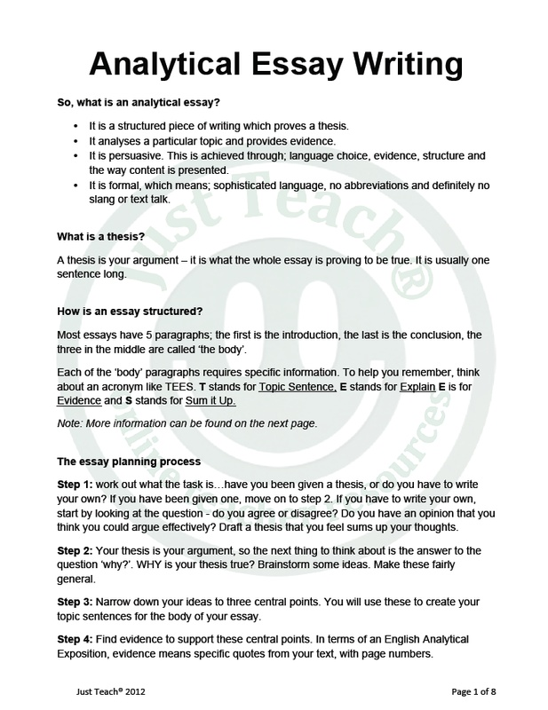 Science And Technology Essay Analytical Essay Writing Help Essay Topics For High School English also Into The Wild Essay Thesis Analytical Essay Writing Help  How To Write An Analytical Essay College Vs High School Essay