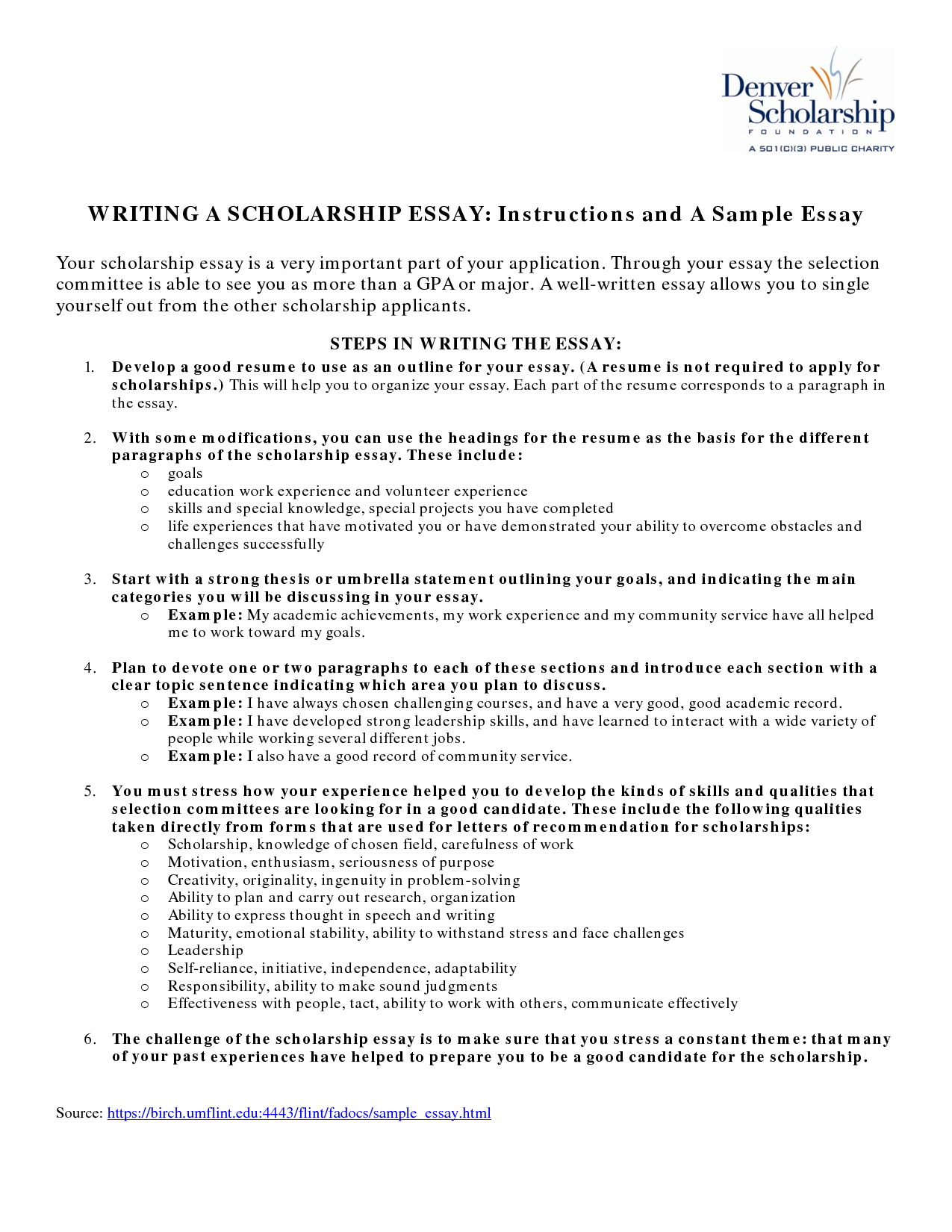 write a college scholarship essay