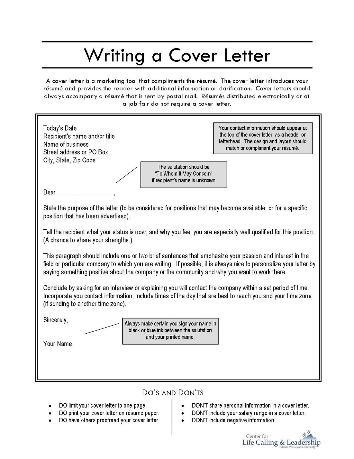 what do you write in a cover letter