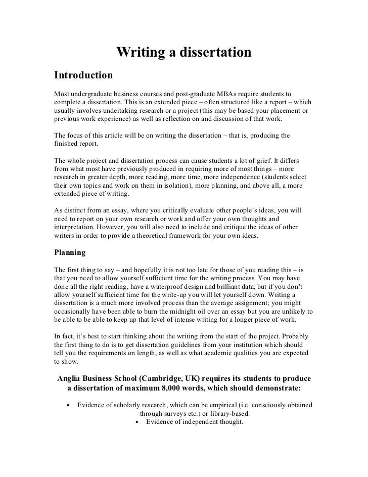 Sample undergraduate dissertations