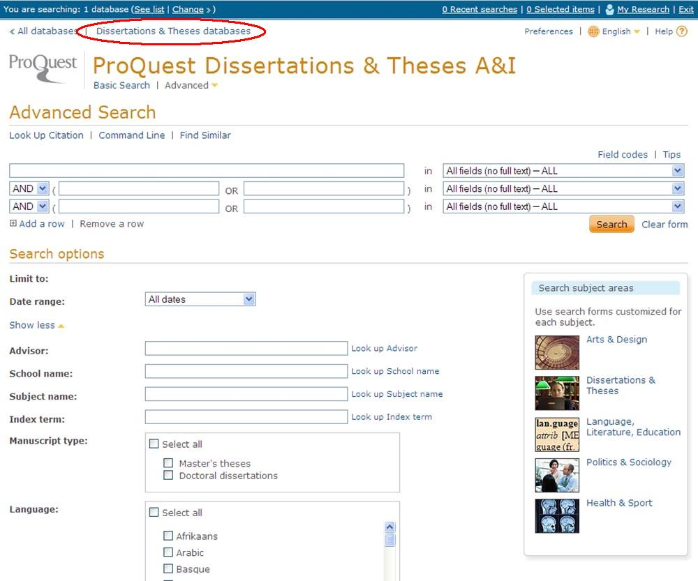 proquest digital dissertations & theses