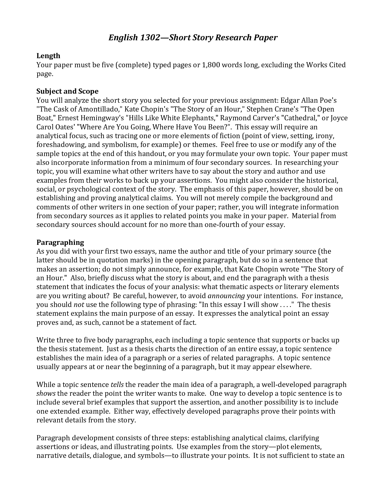 research paper for english An abstract of a scientific research paper will contain elements not found in an abstract of a literature article, and vice versa however, all abstracts share several mandatory components, and there are also some optional parts that you can decide to include or not when preparing to draft your abstract, keep the following key process elements.