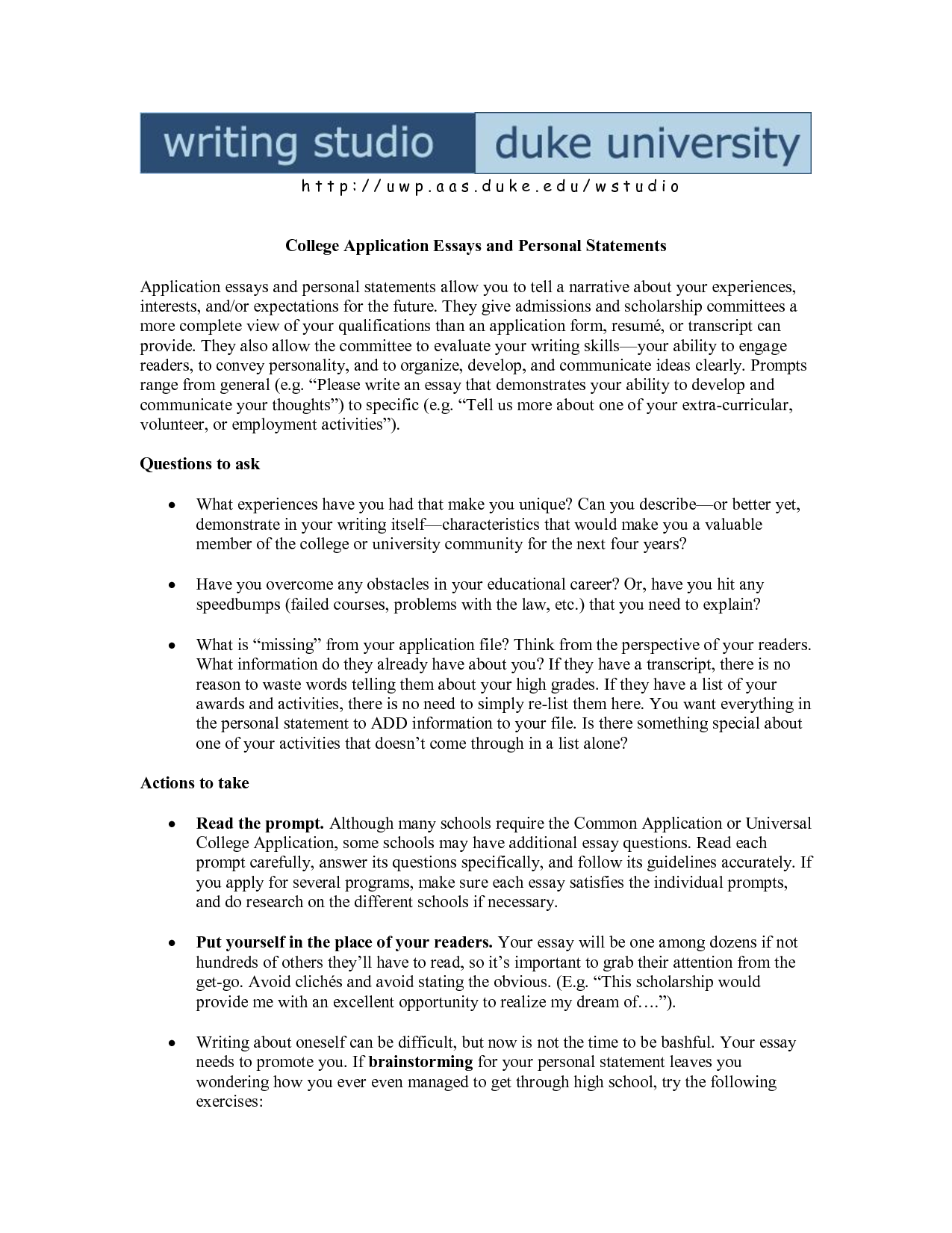 Start college essay personal statement