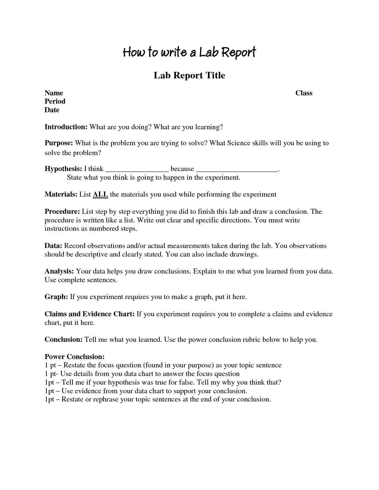 Writing an experiment report