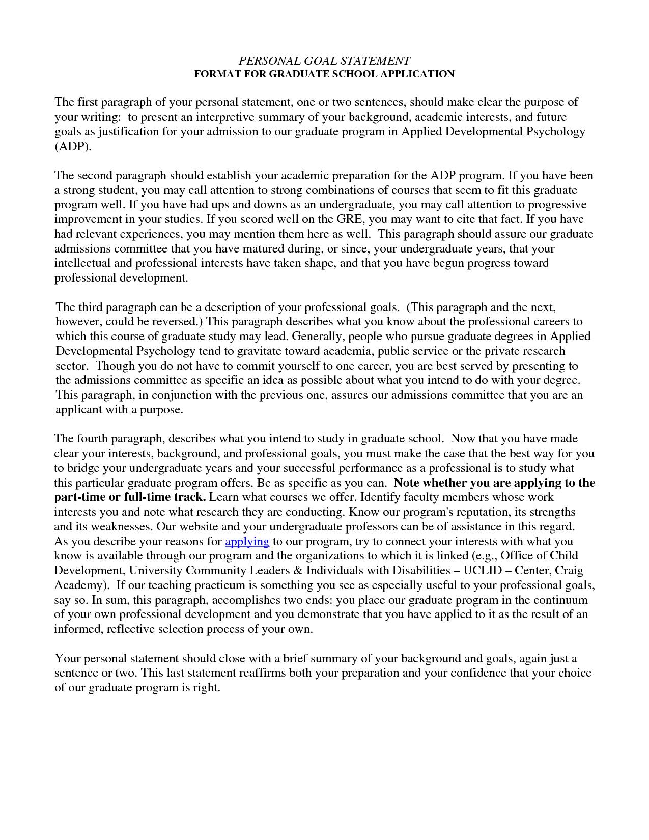 Etonnant Grad School Personal Statement