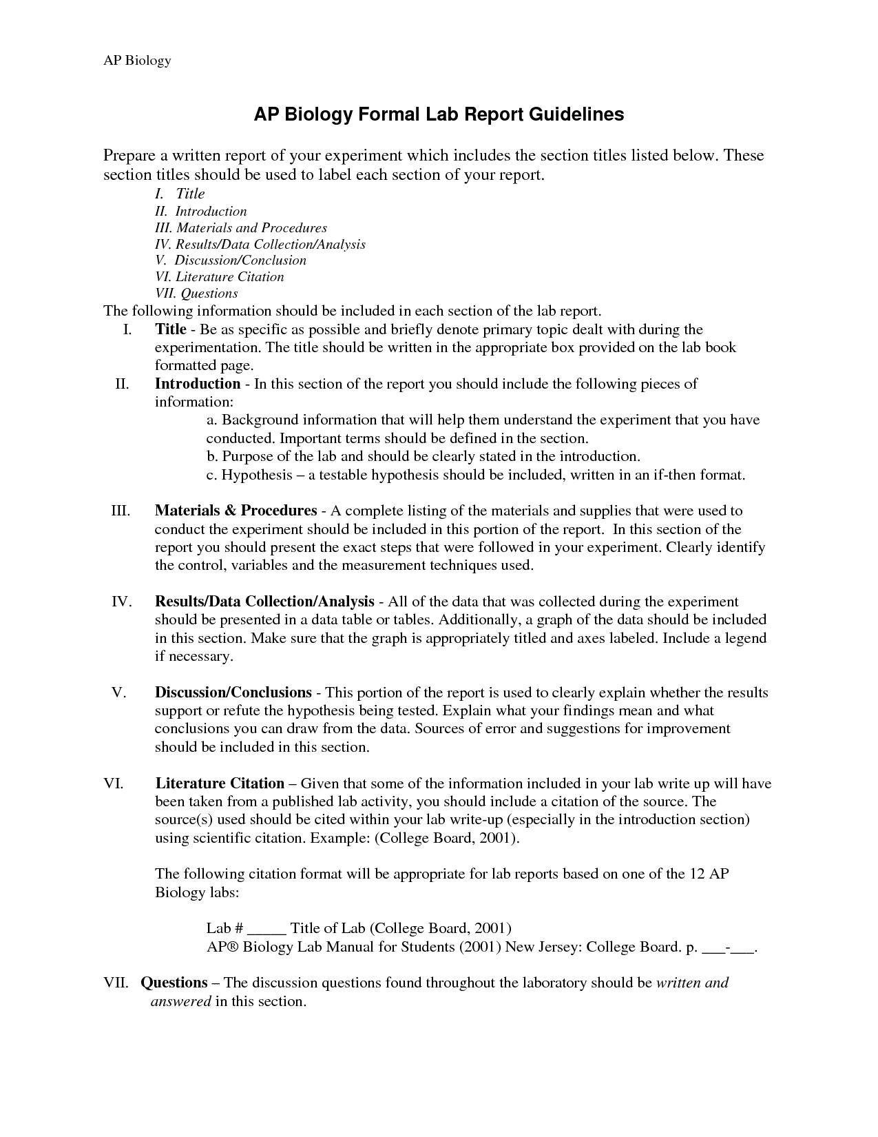biology report Help with report writing guides you through the sections of a typical report in first  year biology what you will learn from using help with writing: the structure.
