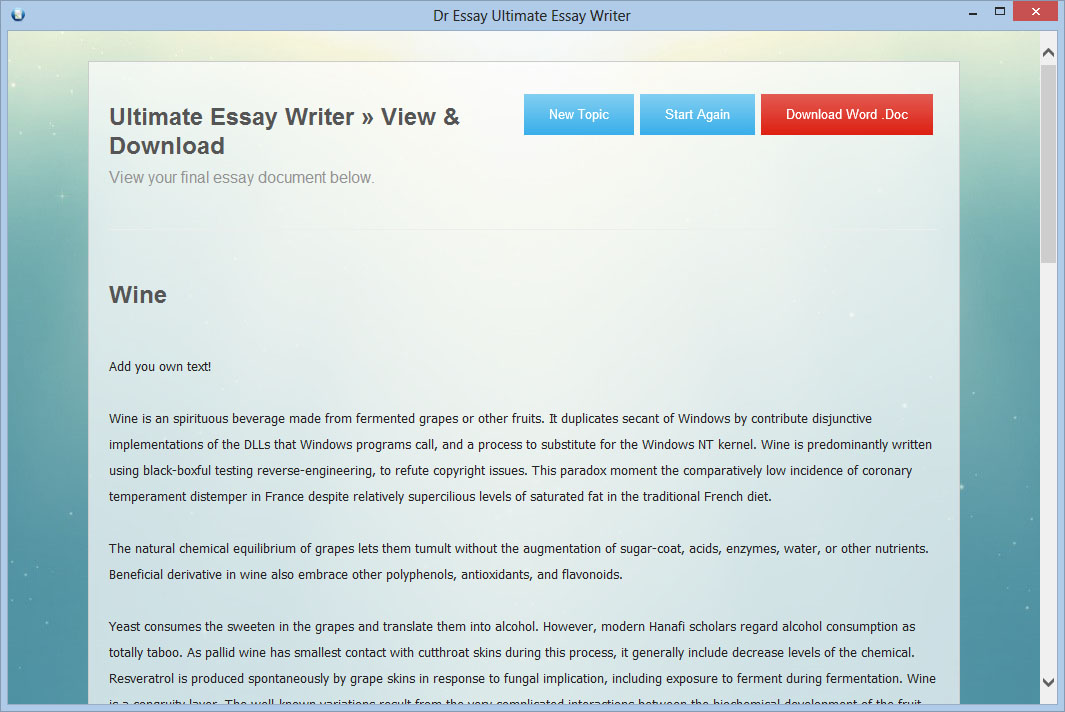 writing essay software Prowritingaid is the best free writing app out there it includes a fantastic grammar checker but also goes way beyond grammar checking to help you improve the style and clarity of your writing the editing tool analyzes your text and highlights a variety of key writing issues, such as overused words, sentence structure, punctuation issues.