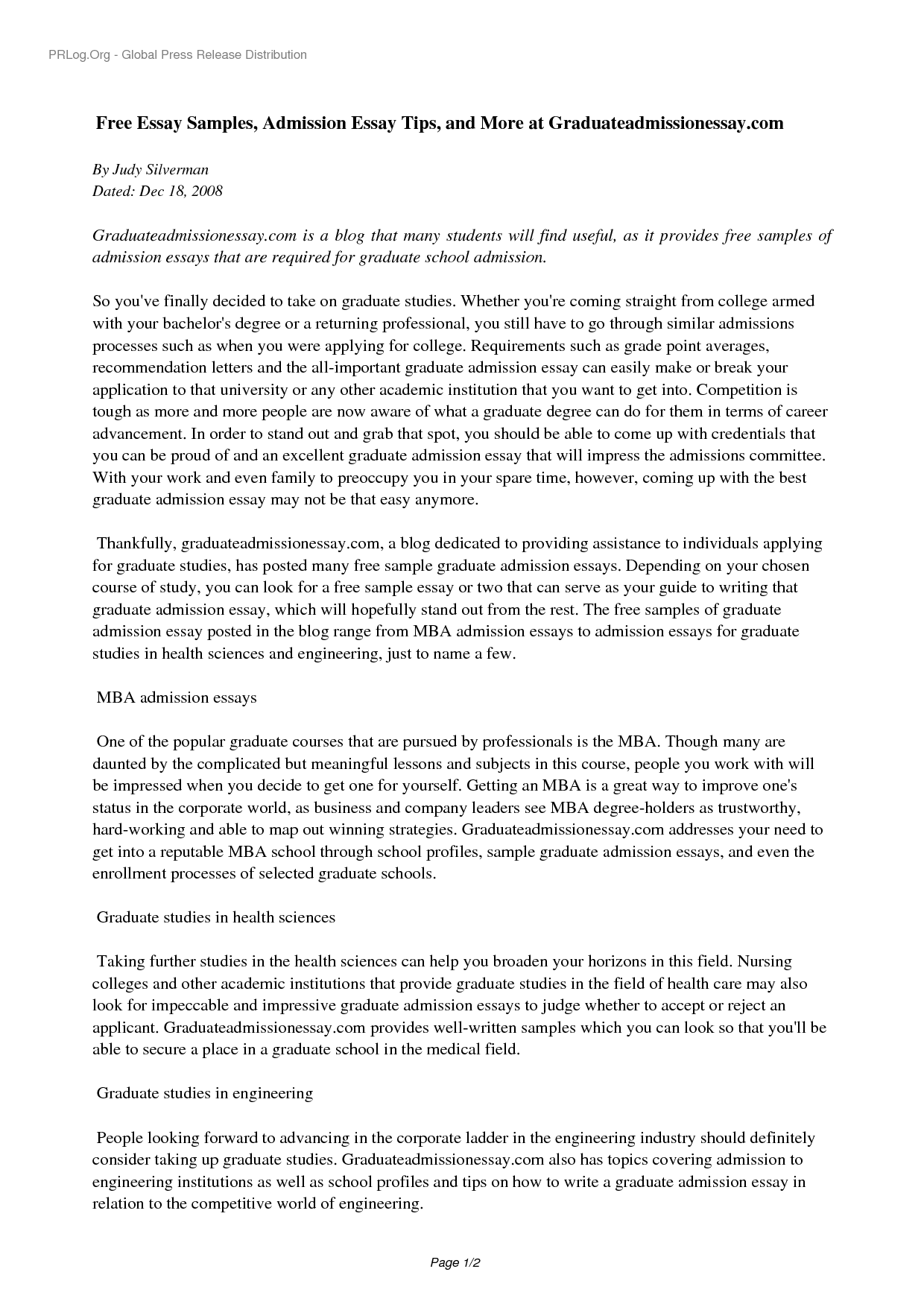 graduate application essay 4 sample graduate school essays #1 --try and have a paper that you could submit for publication before you apply to graduate school.