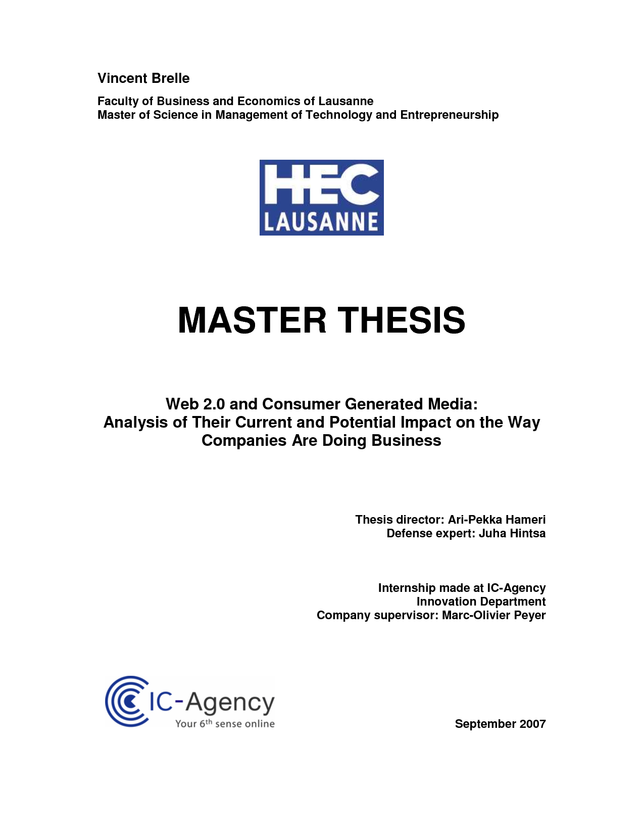 Cover sheet master thesis sample