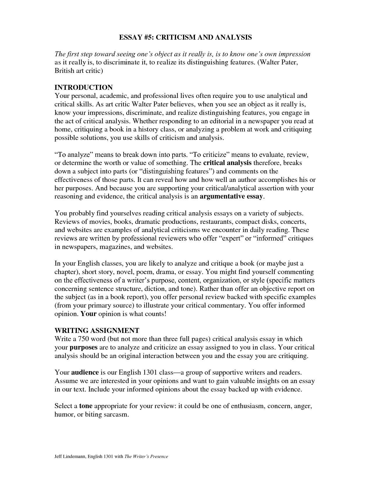 examples of analysis essays