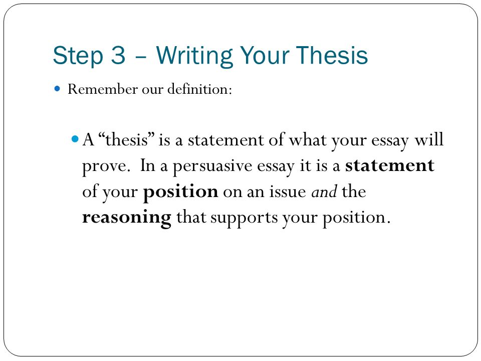 define thesis writing The thesis statement is what gives an essay direction knowing how to write a thesis statement — the topic, a claim about that topic, and three points to support it — can help a writer start an essay in the most clear and concise way.