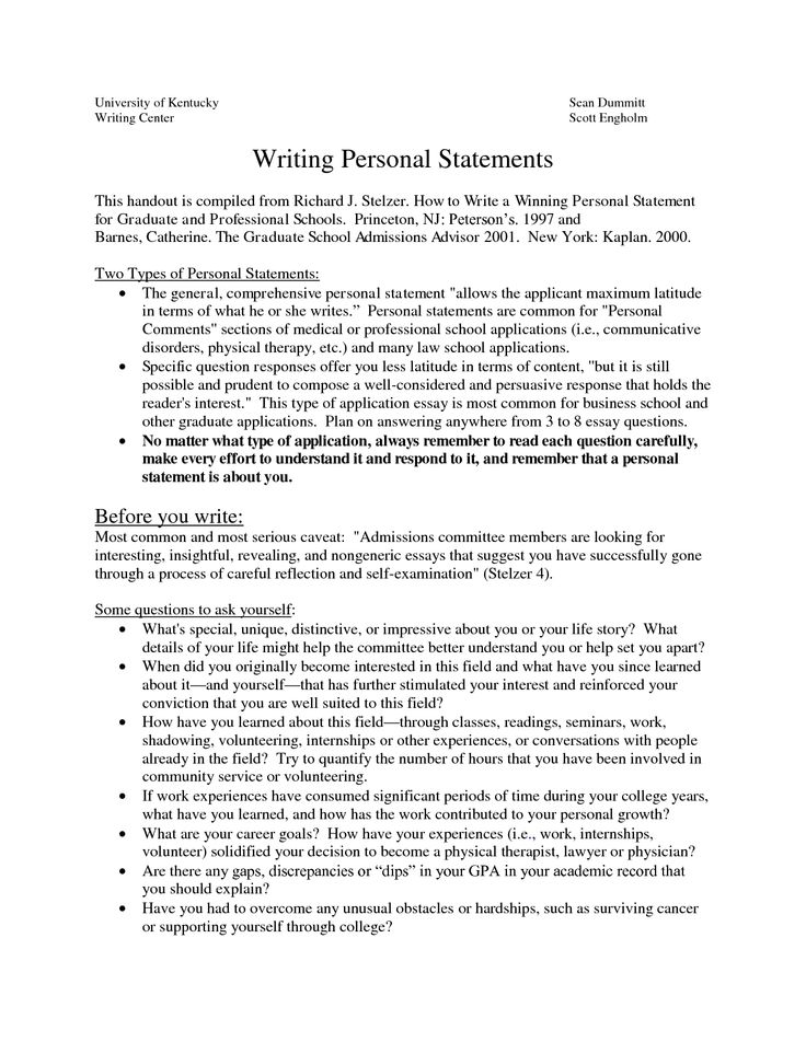 Grad School Personal Statement Example   Statement Information     SP ZOZ   ukowo