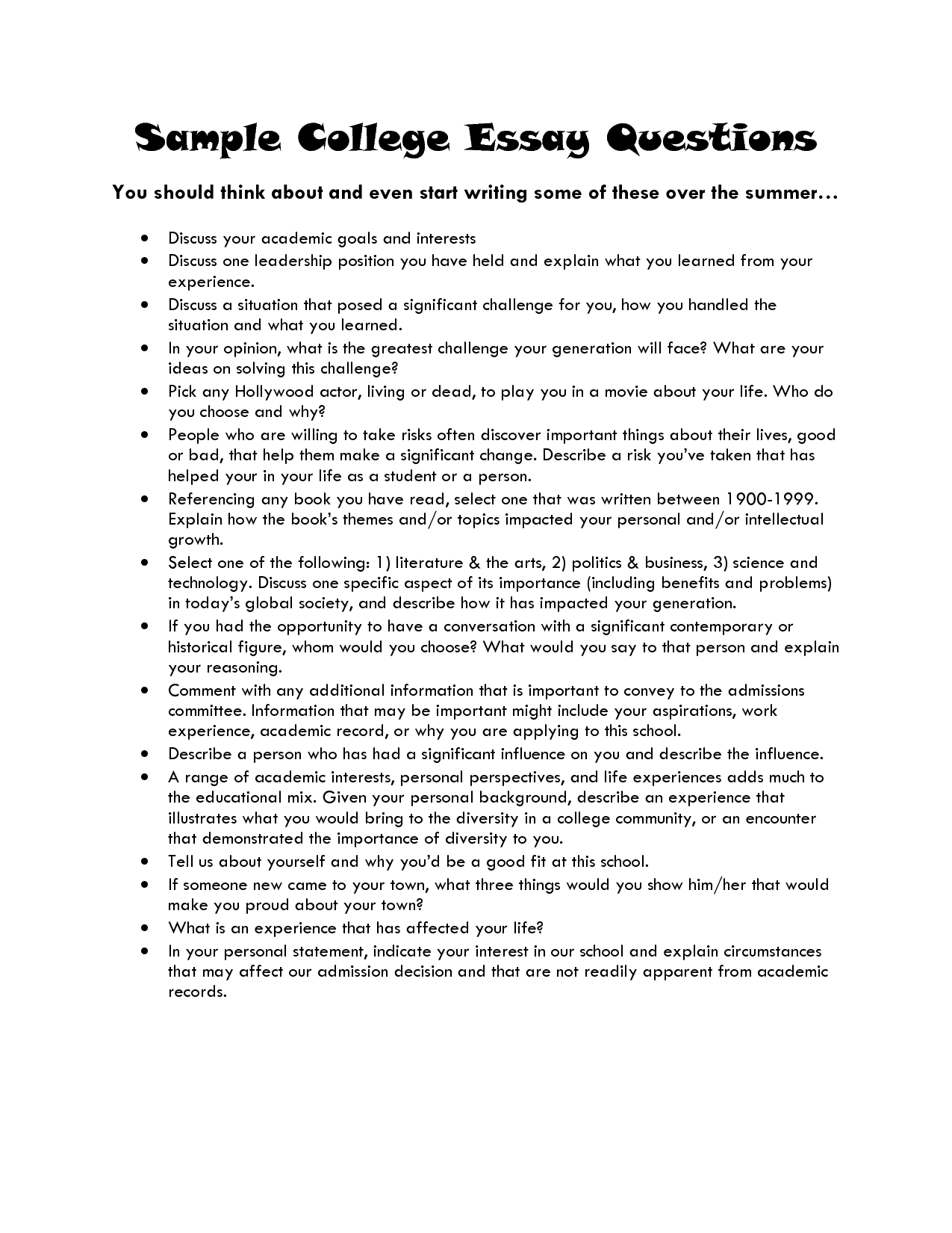 College App Essay Questions | Professional Writing Website