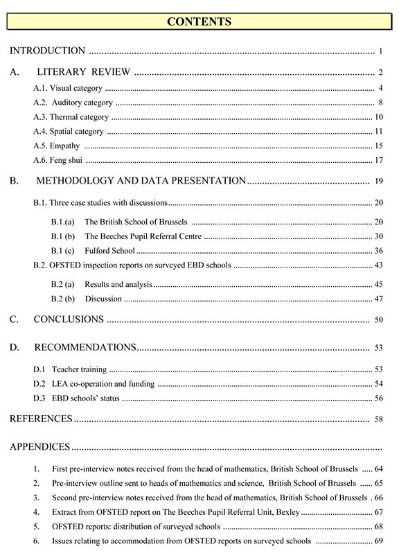 Contents Page For Dissertation