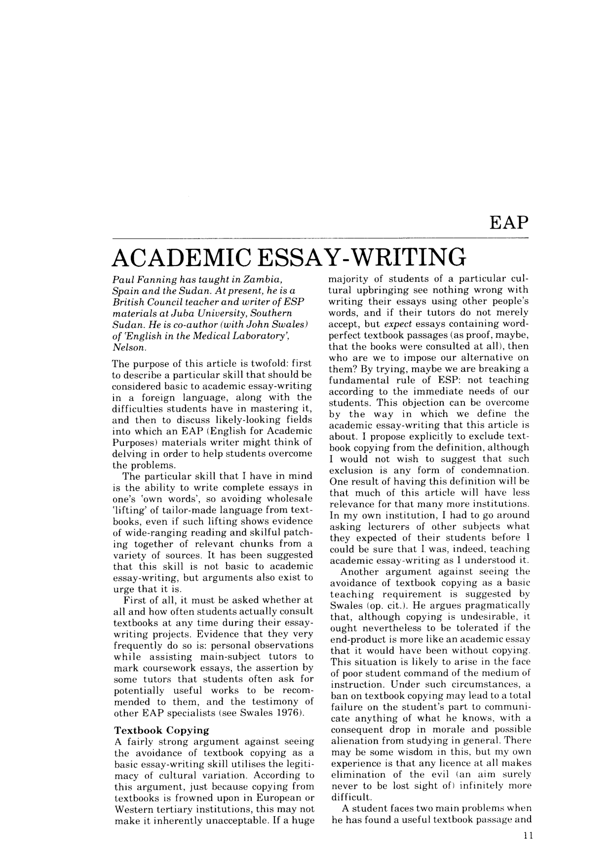 Academic essay write your