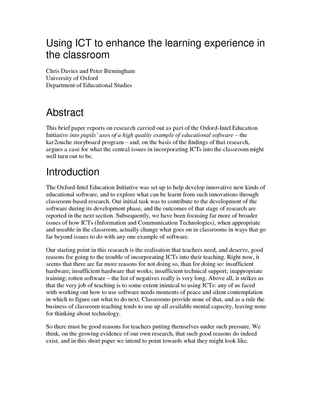 Essay Abstract Example