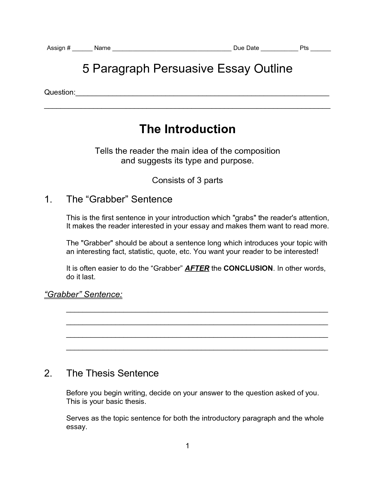 Writing a persuasive essay introduction