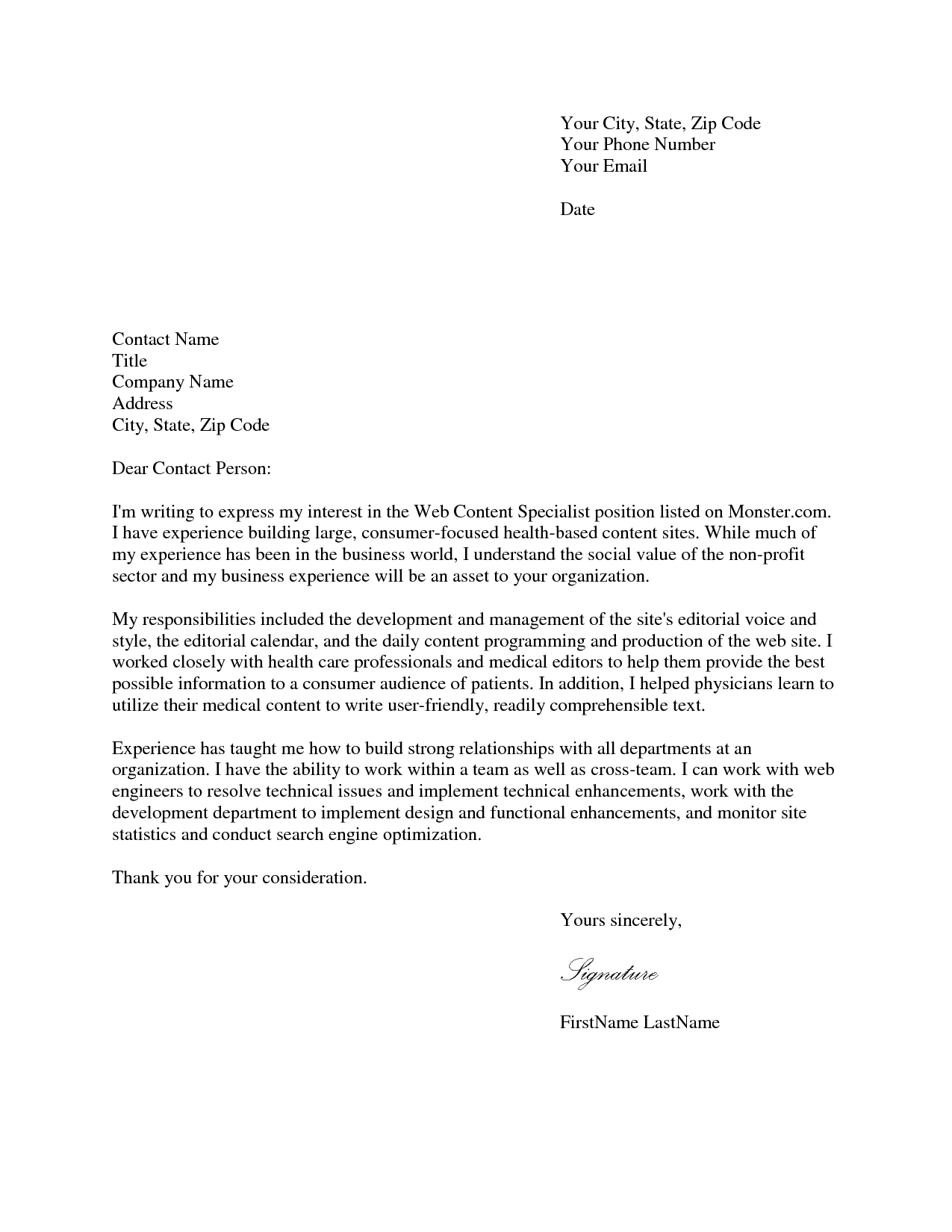 best written job application letters simple - Perfect Cover Letter For Job Application