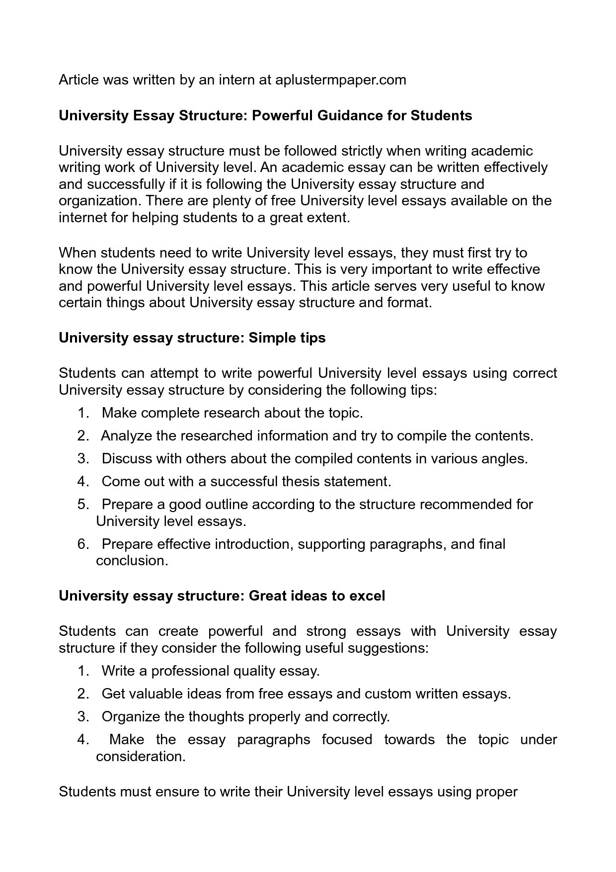 Essay Writing Tips University