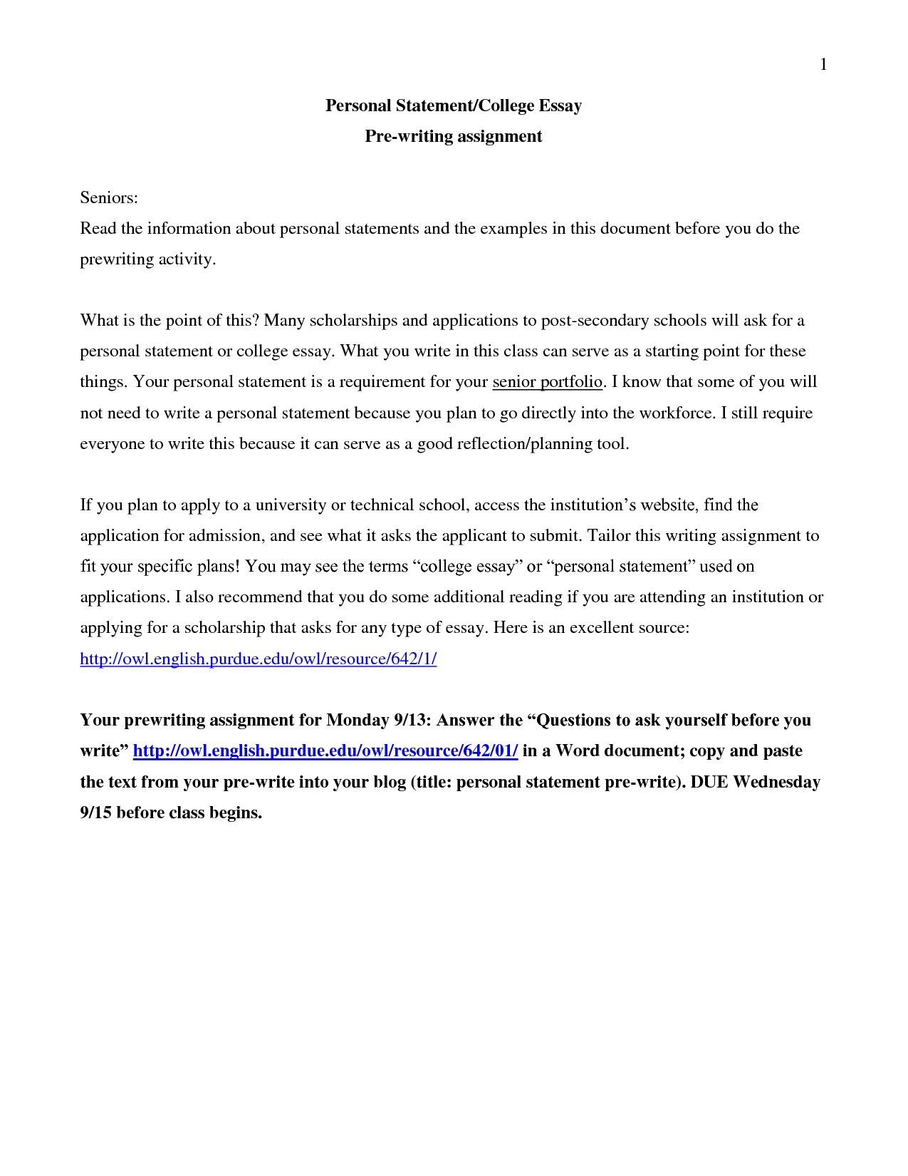 Personal statement essays for colleges