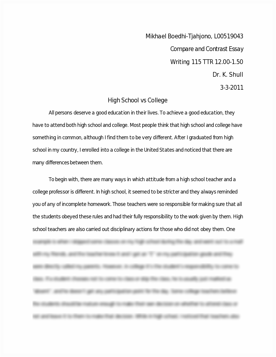 compare and contrast high school and college  best writing website compare and contrast high school and college