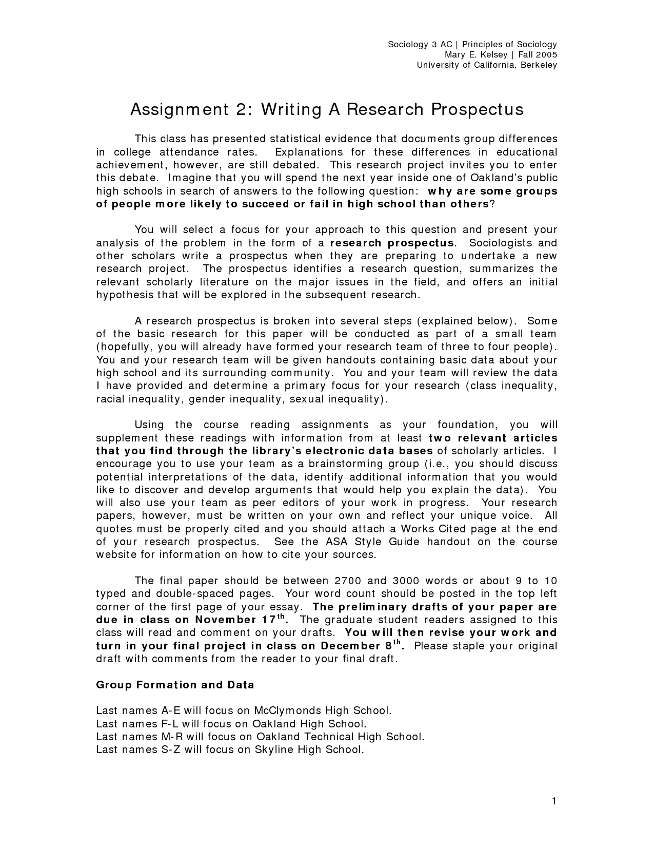 thesis research prospectus Thesis proposals all students should give serious consideration to electing to write a thesis a thesis involves original research and is a proven method for.