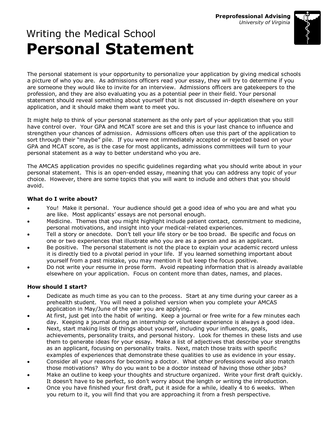 Personal statement for college admission