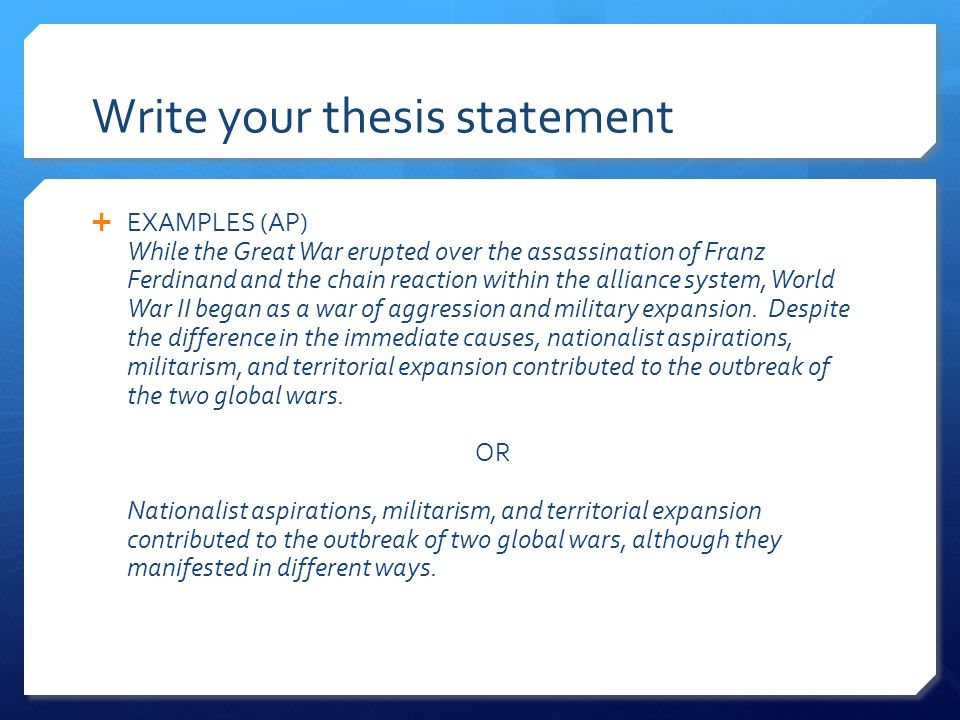 thesis statement thesis statement The thesis statement serves as the organizing principle of the text and appears in the introductory paragraphit is not a mere statement of fact rather, it is an idea, a claim, or an interpretation, one that others may dispute.