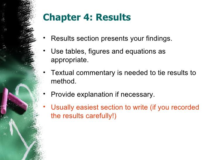 dissertation results section introduction The results section in a dissertation is a particularly important stage, which requires maximum attention and concentration the result section serves as the presentation of the materials gathered by providing the readers with the information about the results that the researcher managed to achieve.