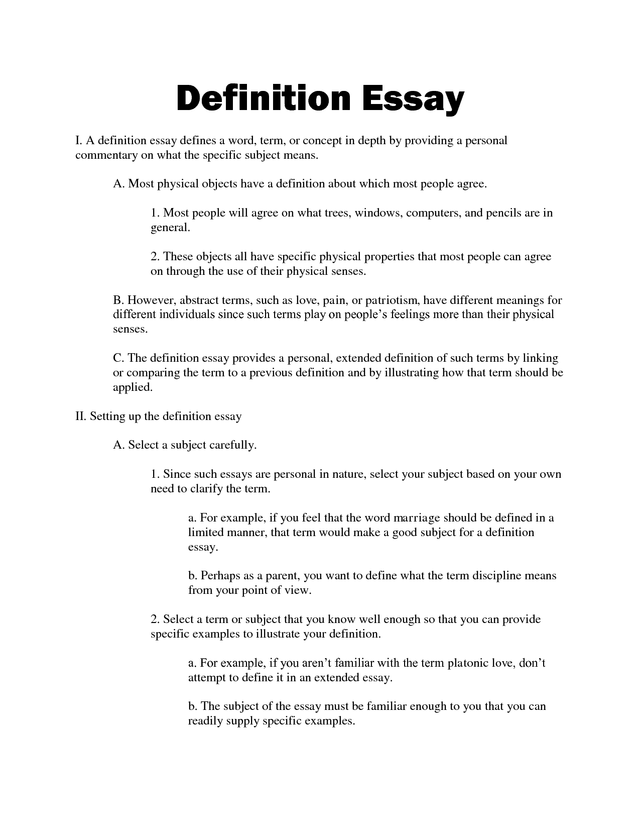 how to define a word in an essay example