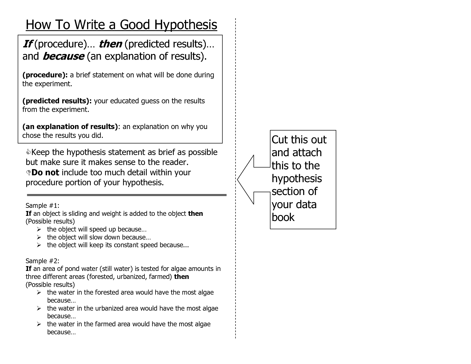 how to write a hypothesis statement for a research paper A hypothesis (plural hypotheses) is a precise, testable statement of what the   changes) and the dependent variable (what the research measures)  to write  the alternative and null hypotheses for an investigation, you need to identify the  key variables in the study  how to reference this article: mcleod.