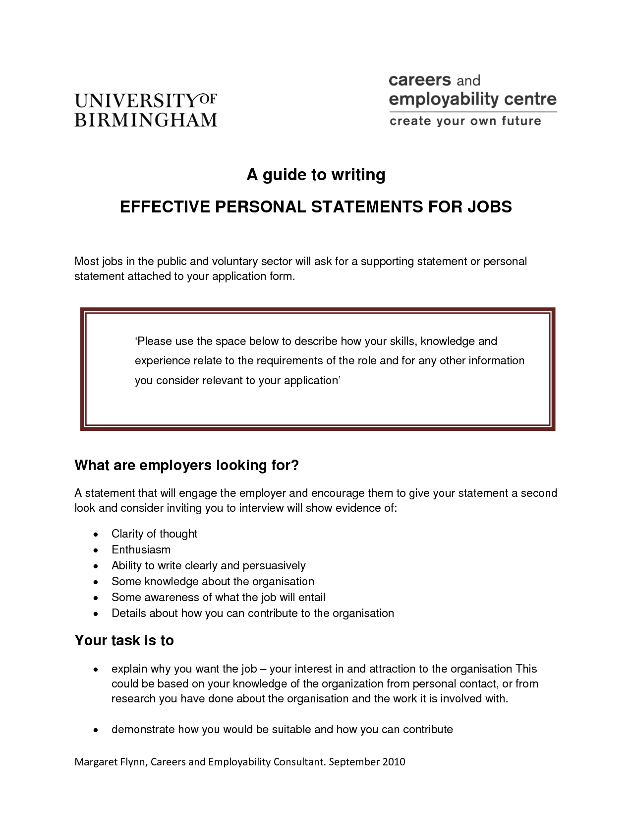 Personal statement university application sample