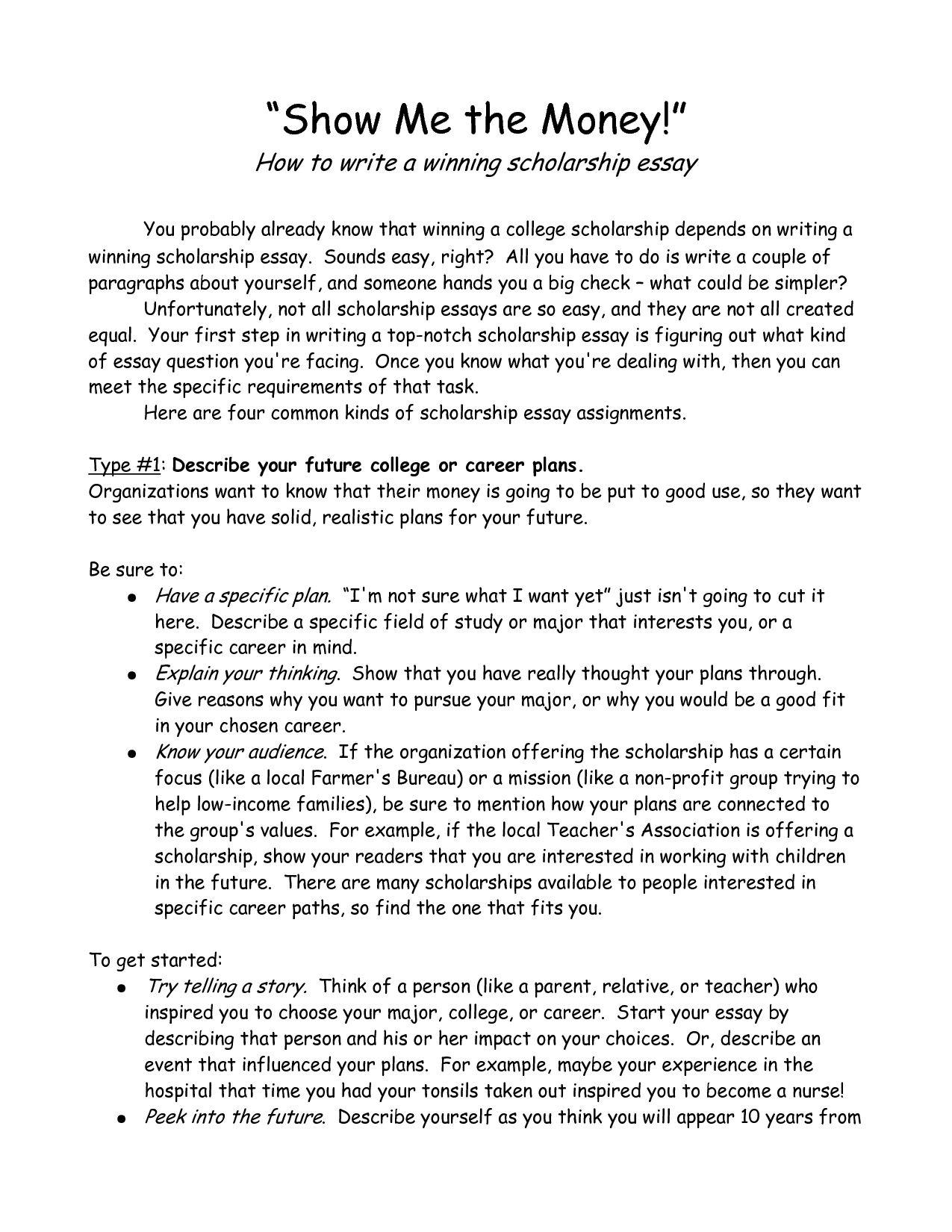 Example Essay About Myself For Scholarship