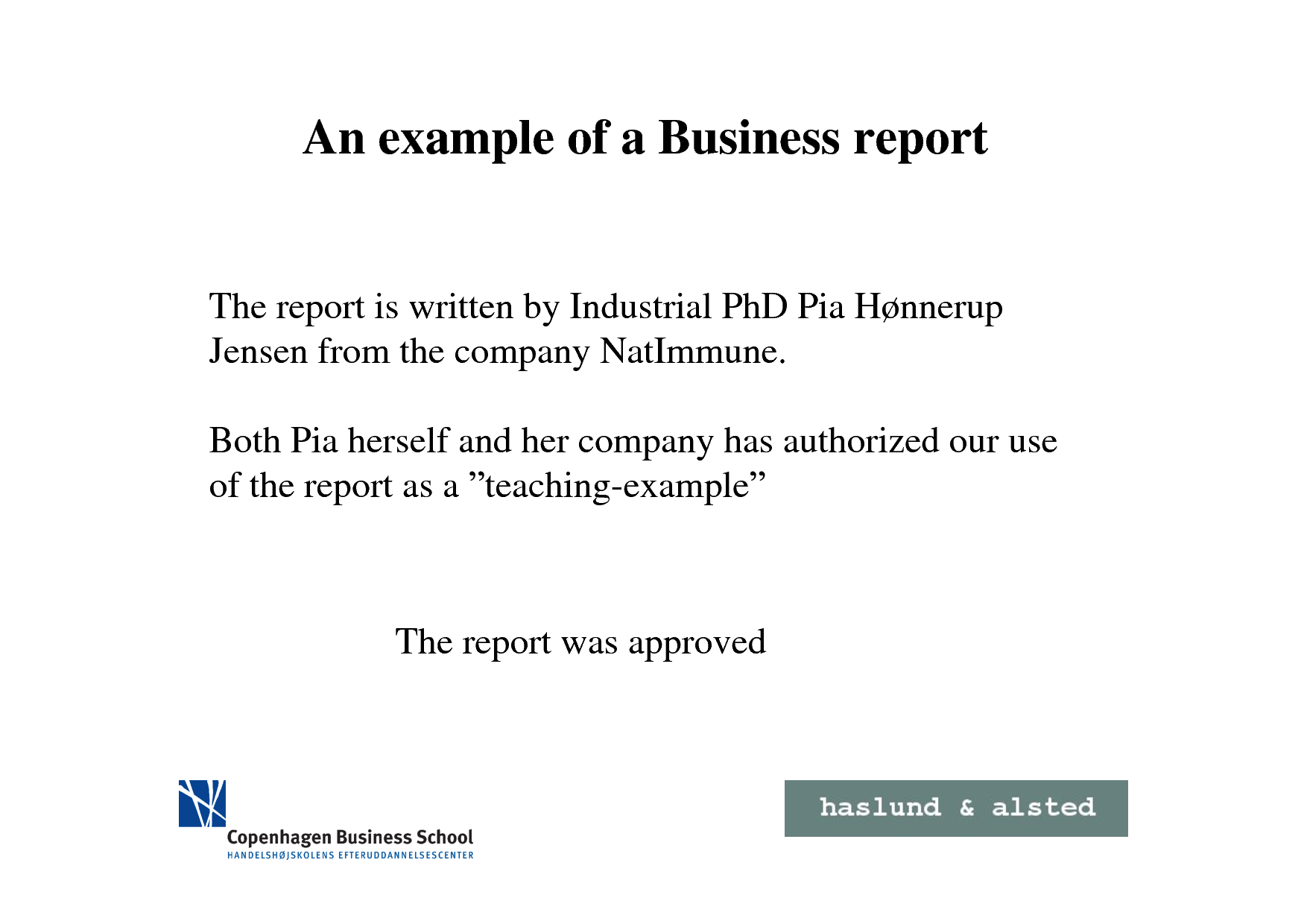 business report sample