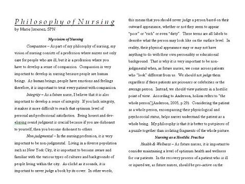 personal philosophy of nursing college essay My personal philosophy essay people develop and shape their personal philosophy during the whole life some circumstances may radically change our views, depending on our age, social status and personal qualities.