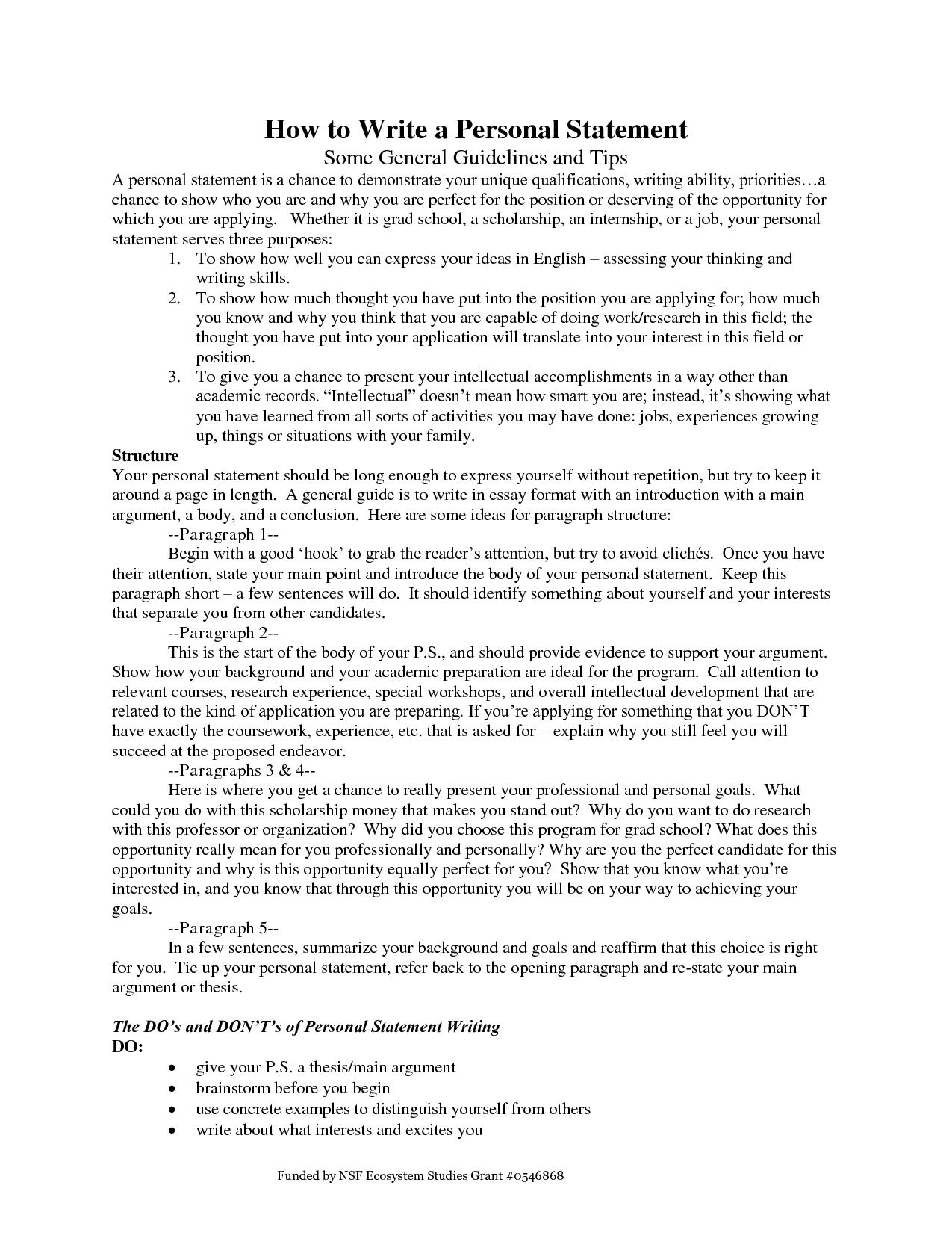 Writing Personal Statement