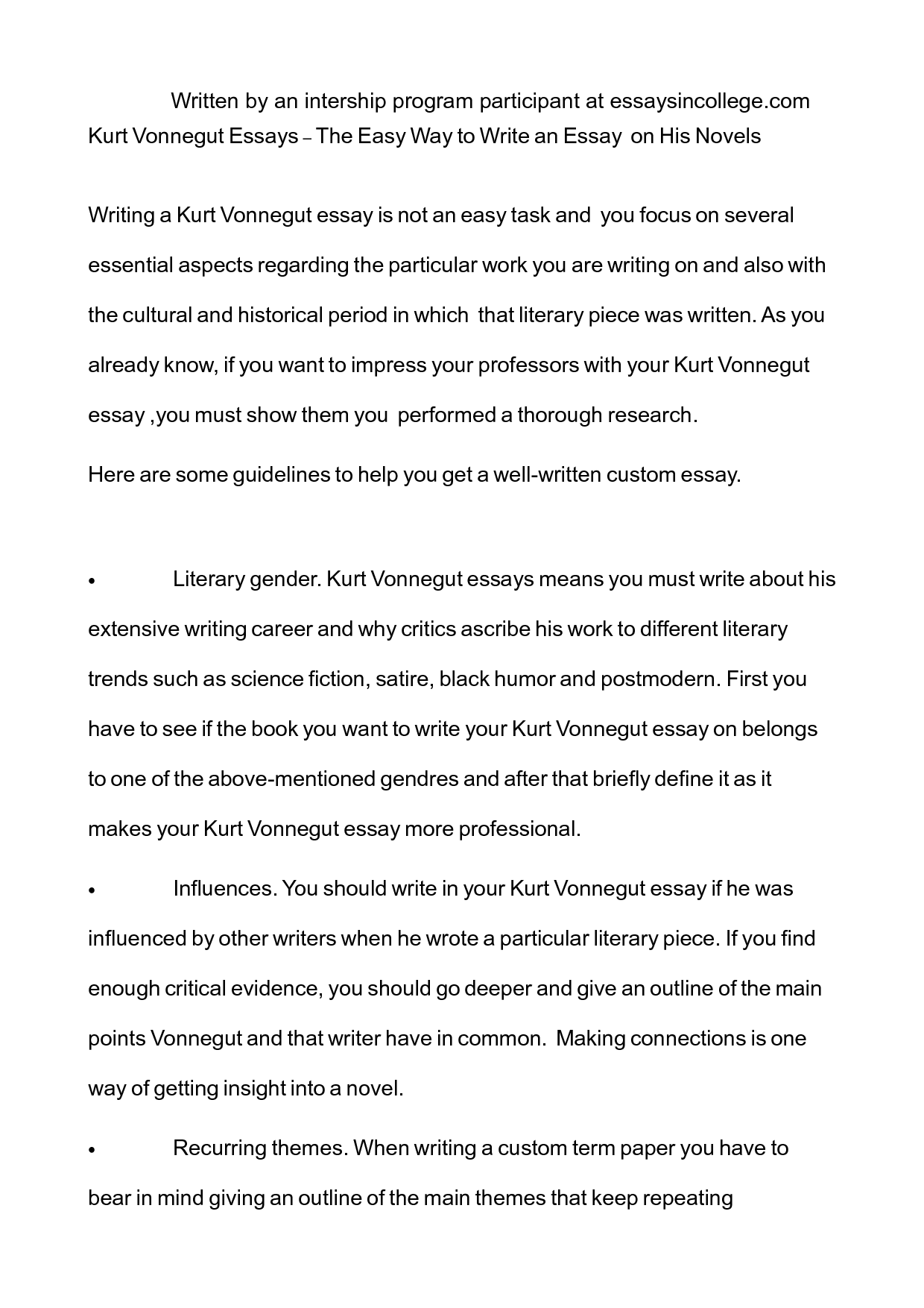 Easy essay on