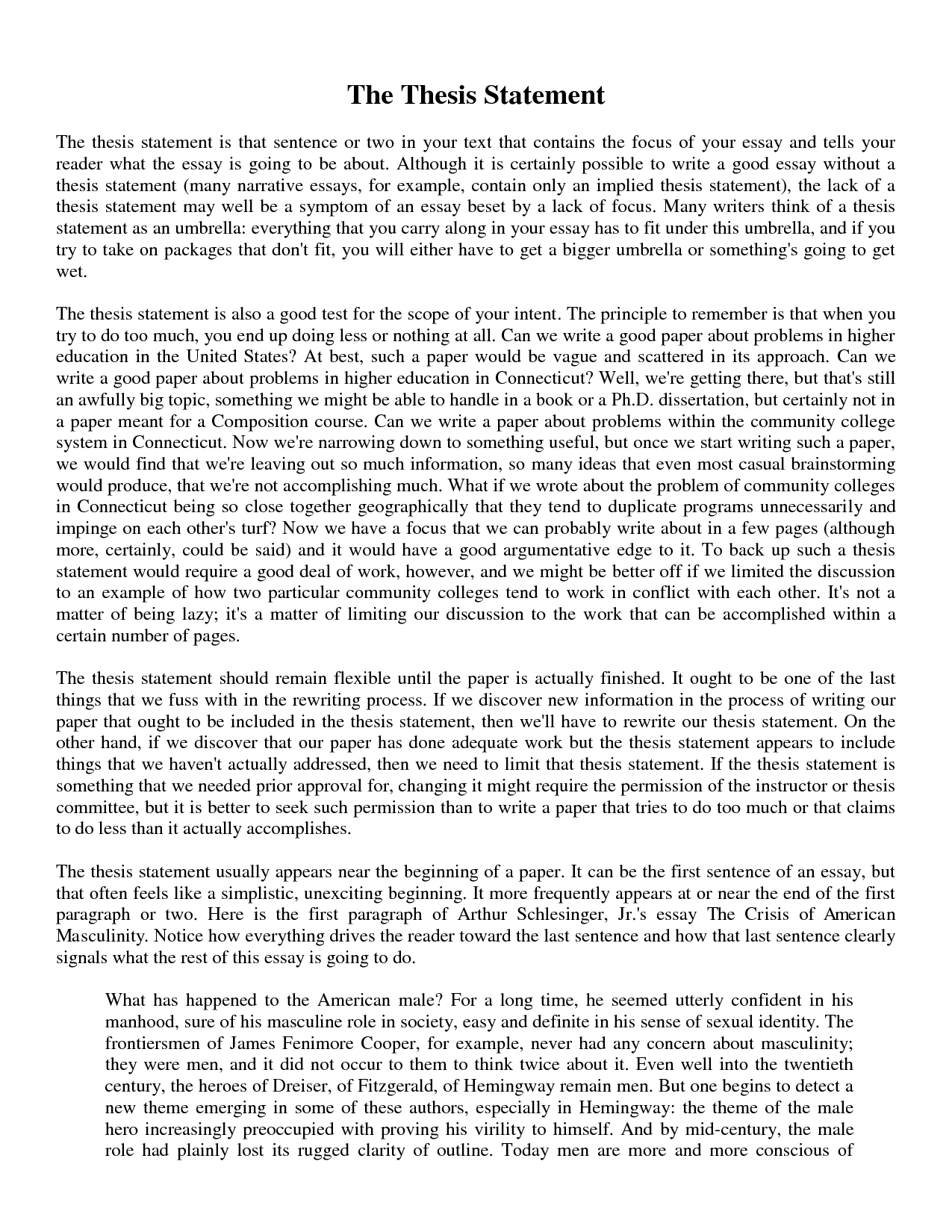 thesis statement of essay writing