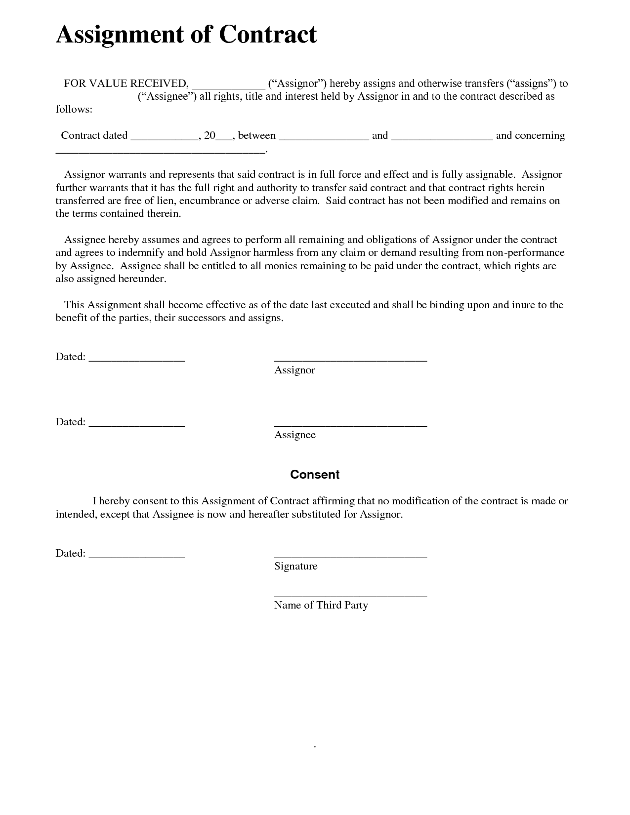 Assignment of agreement
