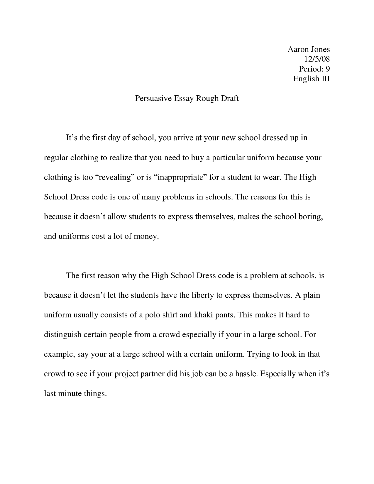 Examples Of Persuasive Essays For High School